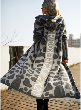 Hooded Casual Long Leopard Pocket Sweaters