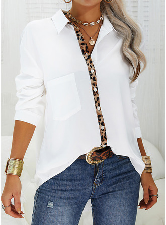 Leopard Patchwork V-Neck Long Sleeves Casual