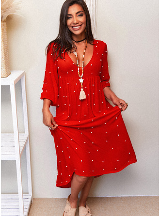 Solid Beaded Shift 3/4 Sleeves Maxi Casual Dresses