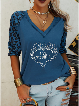 Leopard Figure Sequins Heart V-Neck Long Sleeves Casual T-shirt