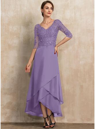 Трапеция V-образный асимметричный шифон Кружева Платье Для Матери Невесты с развальцовка блестки