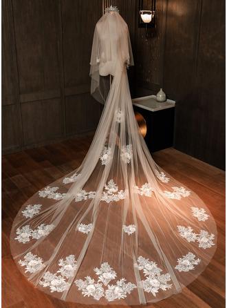 Two-tier Lace Applique Edge Chapel Bridal Veils With Lace