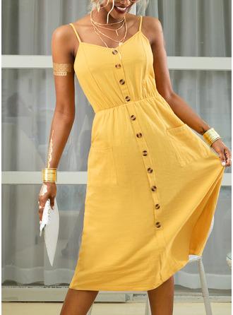 Midi Spaghetti Straps Polyester Button/Solid Sleeveless Fashion Dresses