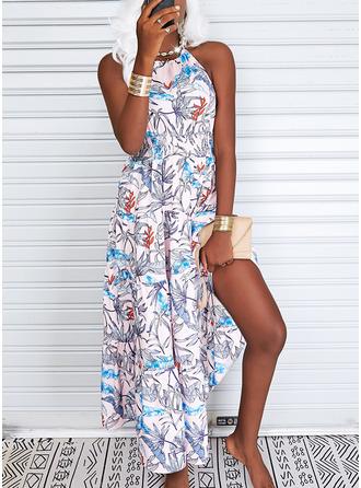Bloemen Print A-lijn-jurk Mouwloos Maximum Casual schaatser ()