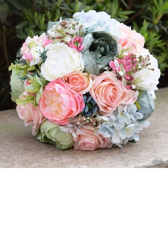 Round Satin/PE Bridal Bouquets (Sold in a single piece) -