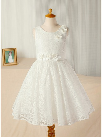 A-Line/Princess Tea-length Flower Girl Dress - Lace Sleeveless Scoop Neck With Flower(s)