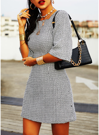 Print Bodycon 1/2 Sleeves Mini Casual Elegant Dresses