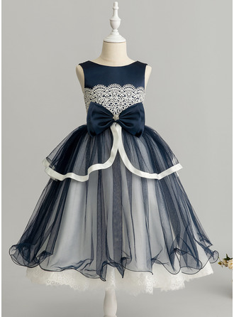 Ball-Gown/Princess Tea-length Flower Girl Dress - Tulle/Lace Sleeveless Scoop Neck With Beading