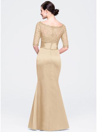 Trumpet/Mermaid Scoop Neck Floor-Length Satin Lace Evening Dress
