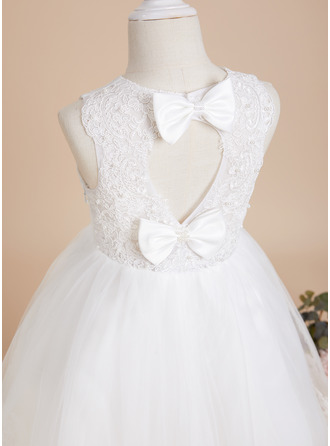 A-Line Scoop Neck Knee-length With Beading/Bow(s)/Back Hole Tulle/Lace Flower Girl Dress