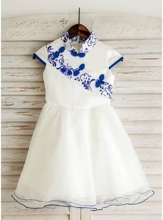 A-Line/Princess Knee-length Flower Girl Dress - Satin/Tulle/Brocade Short Sleeves Mandarin collar