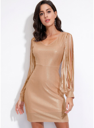 pailletten Solide Bodycon Lange Mouwen Mini Party ()