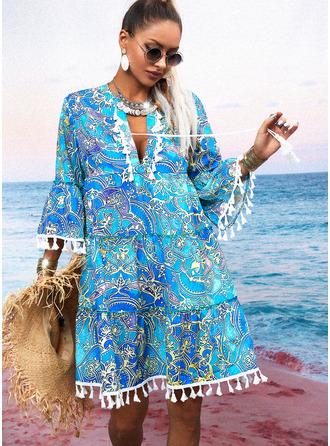 Print Shift 3/4 Sleeves Mini Boho Casual Vacation Tunic Dresses