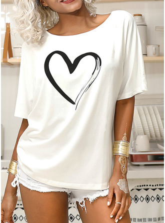 Print 1/2 Sleeves Polyester One Shoulder T-shirt Blouses