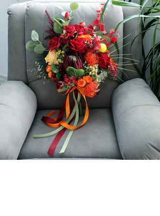Smuk Friform Silke Blomst Brude Buketter - Brude Buketter