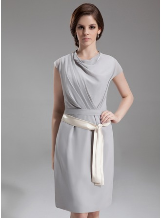 Sheath/Column Cowl Neck Knee-Length Chiffon Kate Middleton Style With Ruffle Sash