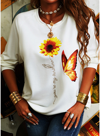 Sunflower Print Animal Print Round Neck Long Sleeves Casual T-shirt