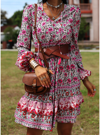 Floral Print A-line Long Sleeves Mini Boho Casual Vacation Skater Dresses