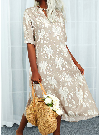 Floral Print Shift 3/4 Sleeves Maxi Casual Vacation Dresses