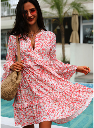 Floral Print Shift Flare Sleeve Long Sleeves Midi Casual Tunic Dresses