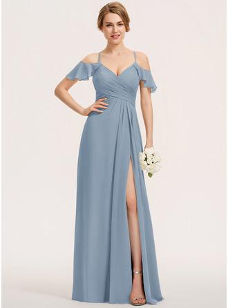 A-Line V-neck Floor-Length Chiffon Evening Dress With Split Front Cascading Ruffles