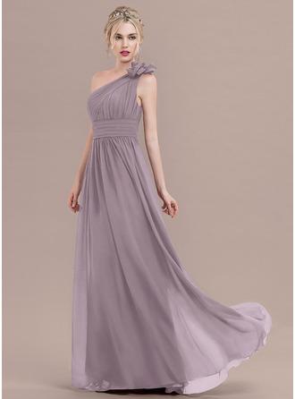 A-Line/Princess One-Shoulder Floor-Length Chiffon Evening Dress With Ruffle Flower(s)