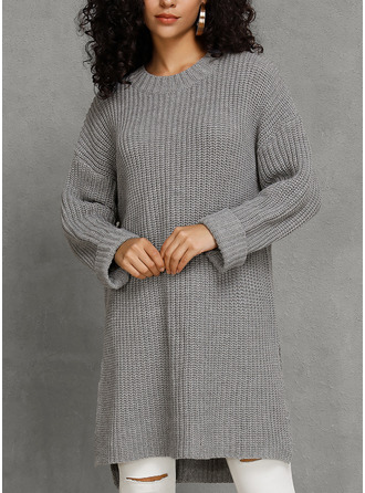 Round Neck Long Solid Chunky knit Sweaters
