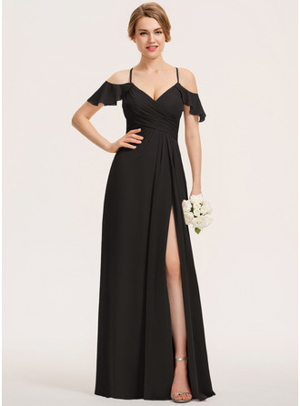 A-Line V-neck Floor-Length Chiffon Evening Dress With Split Front Cascading Ruffles