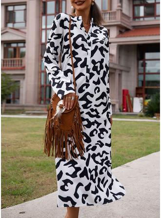 Print Shiftklänningar 3/4 ärmar Maxi Fritids Semester Modeklänningar