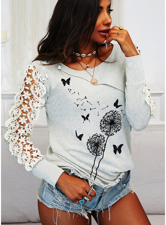 Dandelion Animal Print Lace Round Neck Long Sleeves Button Up Casual Blouses