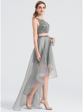 A-Line/Princess Scoop Neck Asymmetrical Organza Prom Dresses