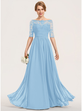 A-Line Off-the-Shoulder Floor-Length Chiffon Lace Bridesmaid Dress With Ruffle