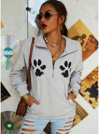 Animal Print Lapel Long Sleeves Sweatshirt