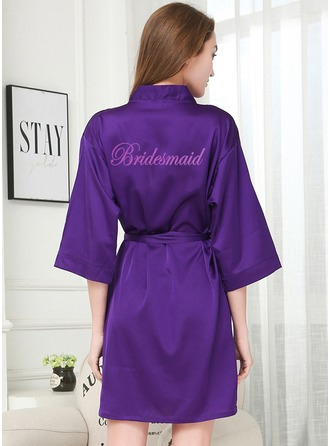 Ikke-personaliseret charmeuse Brudepige Glitter Print Robes