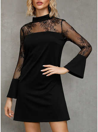 Lace Solid Shift Flare Sleeve Long Sleeves Mini Little Black Party Dresses
