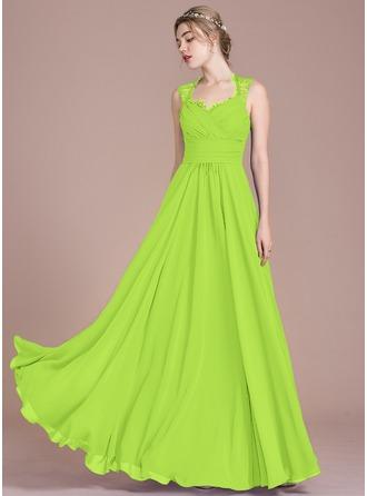 A-Line/Princess Floor-Length Chiffon Lace Bridesmaid Dress With Ruffle Bow(s)