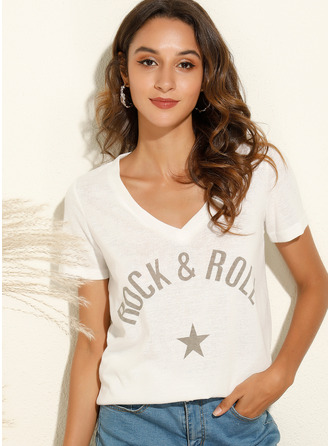 Print Short Sleeves Polyester V Neck T-shirt Blouses