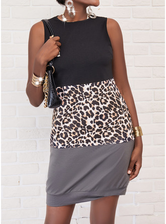 Leopard Print Shift Sleeveless Mini Casual Dresses