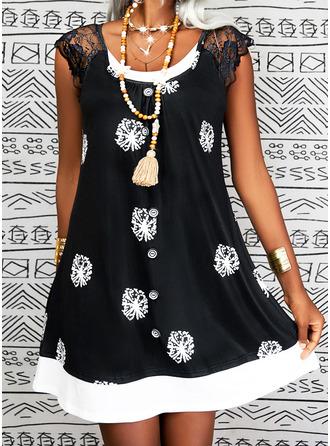 Print Shift Midi Casual Dresses