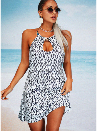 Print Backless Shift Sleeveless Mini Casual Dresses