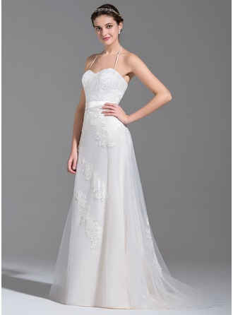 A-Line/Princess Halter Sweep Train Tulle Wedding Dress With Beading Appliques Lace Sequins Bow(s)