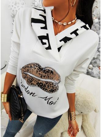 Print Leopard Long Sleeves Hoodie