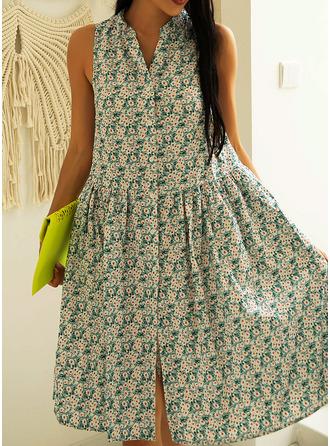Floral Imprimeu Shift Elbiseleri Kolsuz Mini gündelik Tatil Întreg Moda Elbiseler