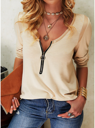Sequins Solid V-Neck Long Sleeves Casual Blouses