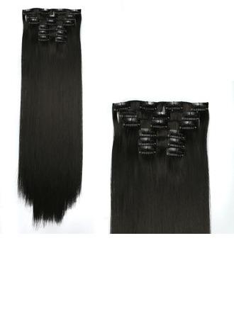 Derecho Pelo sintético Extensiones de cabello con clip 6 piezas 130g