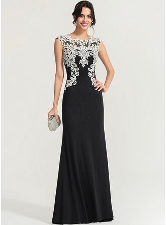 Sheath/Column Scoop Neck Floor-Length Jersey Evening Dress