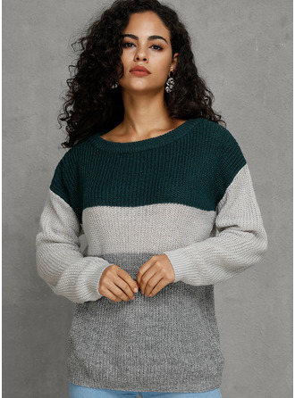 One Shoulder Casual Color Block Sweaters
