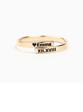 Personalizado Unisex Clássico Banhado a ouro Gravado Anéis Menina das flores