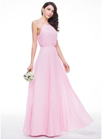 Vestidos princesa/ Formato A Decote redondo Longos De chiffon Vestido de madrinha com Curvado Plissada