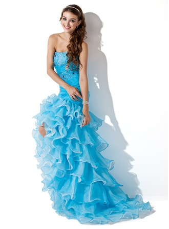 Trumpet/Mermaid Sweetheart Asymmetrical Organza Prom Dress With Beading Split Front Cascading Ruffles